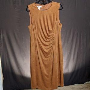 London Times Faux Suede Sheath Dress